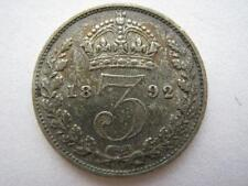 1892 Jubilee Head silver Threepence, VF.