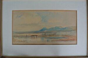 Lier, Heinrich Adolf 1826-82 Bayrisch Voralpenlandschaft Kühe am Wasser Aquarell