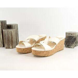 Jimmy Choo Atia Latte Leather Cork Wedge Heels Size 39 NIB