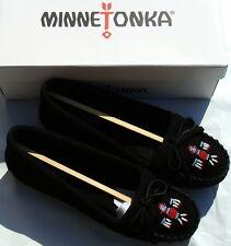Minnetonka Women's Thunderbird II Moccasin  - Black Suede - 10