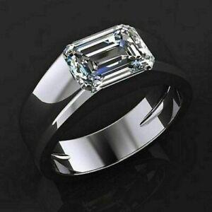 3.79 Ct Emerald Cut White Diamond 14k White Gold Finish Engagement Men's Ring
