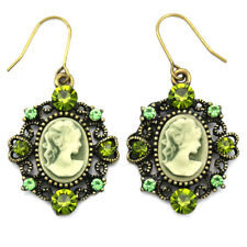 Heart Antique Style Bronze Tone Cameo Jade Dark Green Stone Dangle Earring Charm