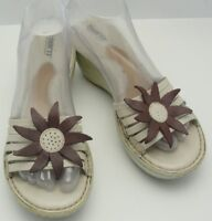 BORN Wedge Heel Slip-On Sandals White Leather Brown Floral Top Womens Sz