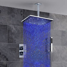 """Ceiling Mounted 8"""" LED Rain Shower Head Thermostatic Dual Handles Valve Faucet"""