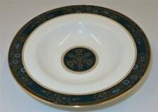 """Royal Doulton CARLYLE, Blue Flowers Gold Leaves, Teal Band, Rimmed Soup Bowl, 8"""""""