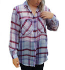 UK Size 8 - 20 Ladies Checked Shirt Blouse Lightweight Silky Anti-wrinkle