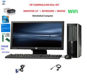 "PC SET HP 8300 All in One Core i5 3470 8GB 500GB HDD 22""   Win10 with WIFI"