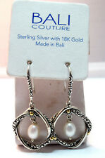 NEW BALI COUTURE SS/18K GOLD TWISTED KNOT WITH FW PEARL DROP FRENCH WIRE EARRING