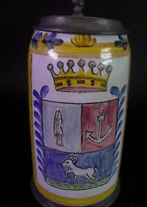 - Fayencenkrug  mit Wappen , Zinndeckel Fundatrix Ettalensis - Kloster Ettal