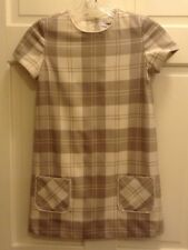 Brooks Brothers Fleece Girls Kids  Dress Size 8 Plaid Tan Cream and Gold Lined