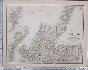 1889 LARGE ANTIQUE MAP ~ SCOTLAND NORTHERN SHEET SUTHERLAND CAITHNESS ROSS