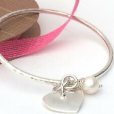 Chunky Sterling Silver Bangle with Silver Heart  and Freshwater Pearl, Hammered