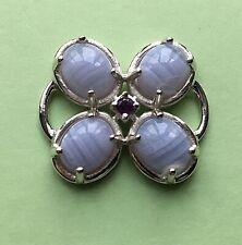Petal Pusher Clasp w/ Agate & Amethyst Sterling Silver 925 used w/ conv Bracelet