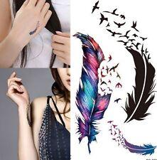 Flying Birds Feather Gradient Temporary Tattoo Boho UK Seller #444