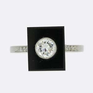 Diamond Engagement Ring - Art Deco Style Diamond and Onyx Ring Platinum