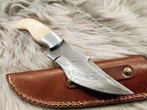 Damascus steel hunting knife hand forged bone handle genuine leather sheath