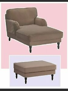 IKEA Stocksund Chaise Lounge Chair+Ottoman Cover NEW Ljungen Beige Tan Footstool