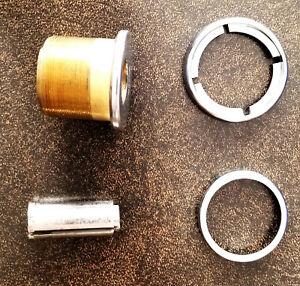 Set: Vintage Corbin Cylinder Lock + Lock Plug + 2 types of Trim Rings Sat Nickel