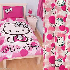 "Hello Kitty Fawn Single Panel Duvet and Matching 66 x 54"" Curtains Set New Gift"