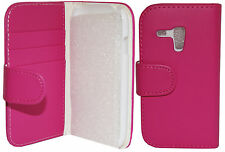 Protective Pink Leather Wallet Flip Case Cover for Samsung Galaxy S3 Mini i8190