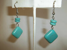 NEW TURQUOISE & SILVER DISCS & SQUARE ATTRACTIVE PIERCED HOOK EARRINGS /   NICE