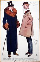 1904 Phil May/Artist-Signed Tuck 'Oilette' Postcard: Men in Top Hats, Smoking