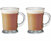 Set Of 2 Large Essentials Glass Tea Coffee Latte Cappuccino Drinks Mugs Glasses