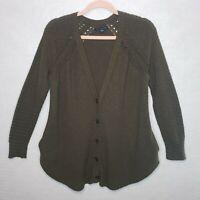 American Eagle Cardigan Sweater Waffle Knit Medium Cozy Loungewear Olive Green