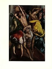 """1950 Vintage EL GRECO DETAIL """"CLEANSING OF THE TEMPLE"""" COLOR offset Lithograph"""