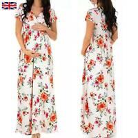 Pregnant Women Floral Print Maxi Dress V Neck Short Sleeve Maternity Summer UK