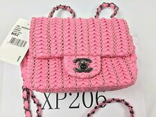 AUTH CHANEL CRUISE 2016 SMALL CROCHET LAMBSKIN PINK FLAP BAG $3,200 RARE