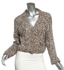 BRUNELLO CUCINELLI Blue Brown Sequin Linen Blend Cropped Knit Cardigan Sweater M