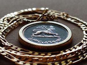 """High Gloss"" Rastafarian Lion of Judah Coin Pendant 24"" 18KGF Gold Filled Chain"