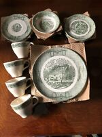 Scio China Currier & Ives Ox Yoke Vintage New Complete Service For 4
