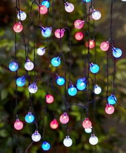 Solar Powered 50-Bulb Red, White & Blue 4th July Patio Garden String Lights