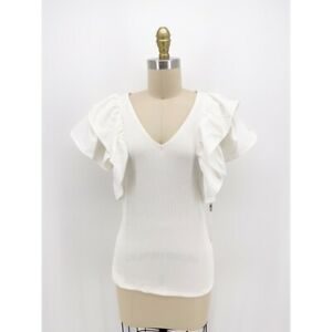 Haute Monde Womens Blouse Ivory Ruffle Sleeve V Neck Stretch Ribbed Top L New