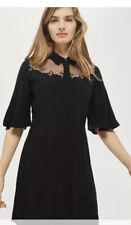 Topshop Black Embroidered Flute Sleeve Shirt Dress Uk 10