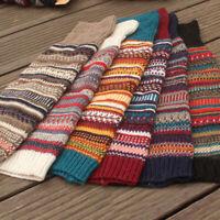 Women Boho Winter Warm Leg Warmers Cable Knitted Crochet High Long Socks 1 Pair