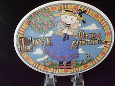 "Mary Englebreit 1994 Me ""Love One Another Cat/Mouse"" Ceramic Oval Plaque 9.5x6.5"