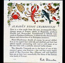 """ETIQUETTE ANCIENNE de VIN / ALMADEN """"PINOT CHARDONNAY"""" de CALIFORNIE (U.S.A.)"""