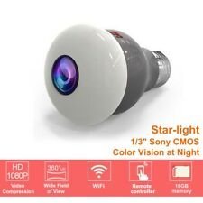 Starlight HD 1080P 2MP 360° Panoramic Fisheye IP Camera WiFi Wireless LED Bulb