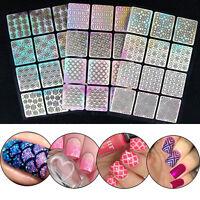 4 Pcs /set  DIY Plantilla Vinilos Pegatinas estampación Arte de uñas manicura
