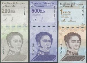 Venezuela - 200000+500000+1000000 Bolivares Soberanos 2020 (2021) UNC - Pick New