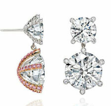 4 ct Dangle Earring Solid 925 Sterling Silver White Round Jewelry New Women Gift