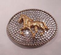 RHINESTONE COWGIRL Clear Crystals Gold Horse Western Silver Belt Buckle