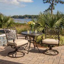 Patio Table Chair Set Bistro Deep Cushion Swivel-Rockers Backyard Metal Dining