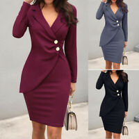 Womens V Neck Long Sleeve Slim Work Business Office Sheath Bodycon Pencil Dress@