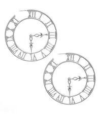 Statement Silver Roman Numeral Clock Earrings Roman Numeral Hoop Earrings 3'