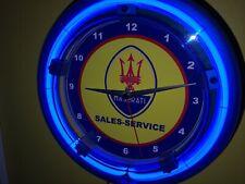 Maserati Motors Auto Garage Man Cave Advertising Blue Neon Wall Clock Sign