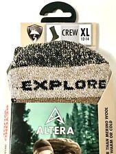 "ALTERA ""EXPLORE"" 1-PR 45% ALPACA+1% SILVER CREW SOCKS T.BROWN SZ XL(12-14 SHOE)"